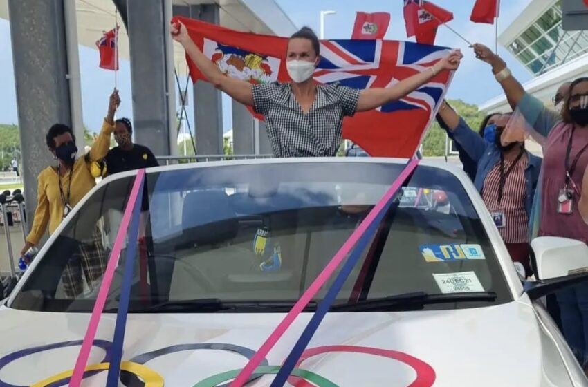 Airport Motorcade and Presentations for Island's First-Ever Olympic Gold Medalist